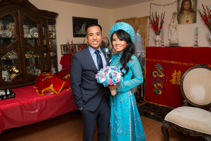 Blue Wedding Ao Dai her 2nd ao dai heading out